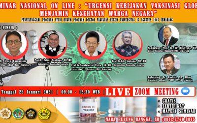 """Seminar Nasional Online : """"Urgensi Kebijakan Vaksinasi Global Menjamin Kesehatan Warga Negara"""""""